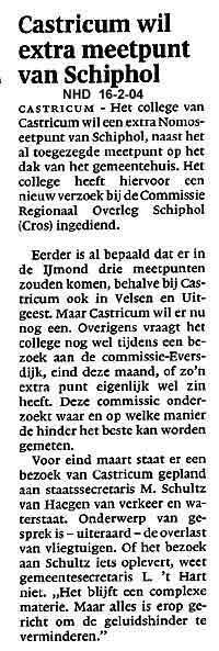 Castricum wil extra meetpunt van Schiphol