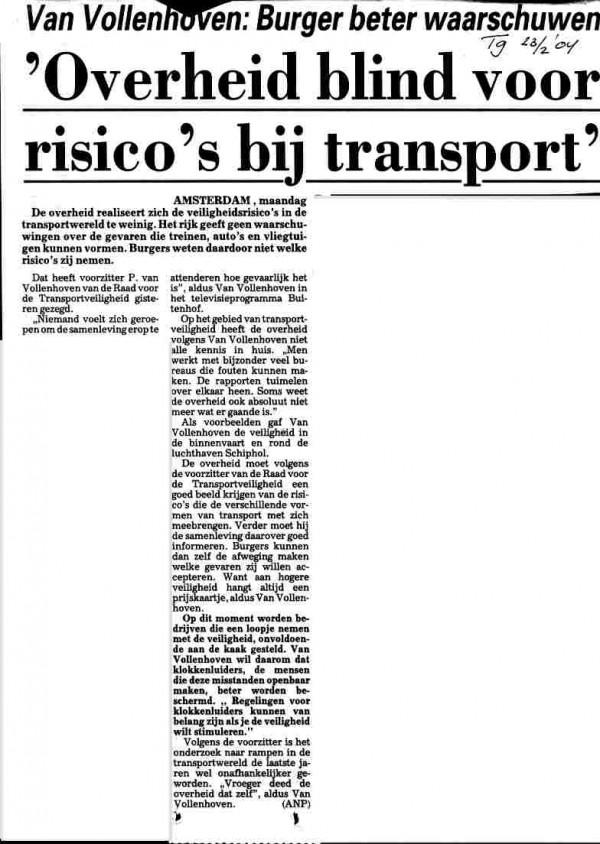 Overheid blind voor risico's bij transport