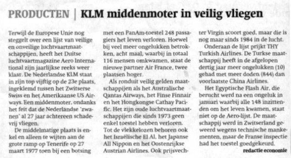 KLM Middenmoter in veilig vliegen