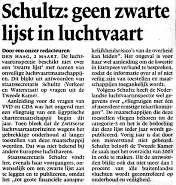 Schultz: geen zwarte lijst in luchtvaart