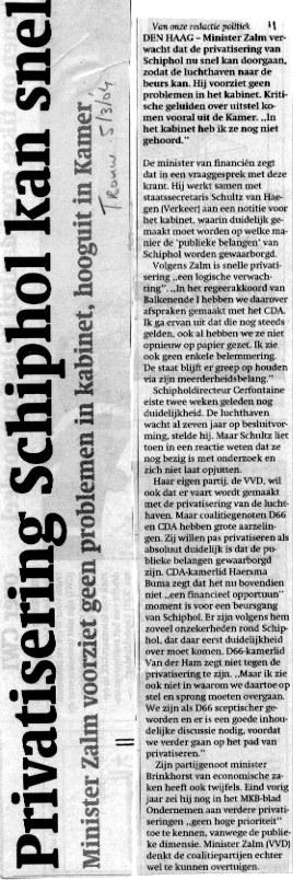 Privatisering Schiphol kan snel