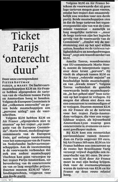 Ticket Parijs 'onterecht duur'