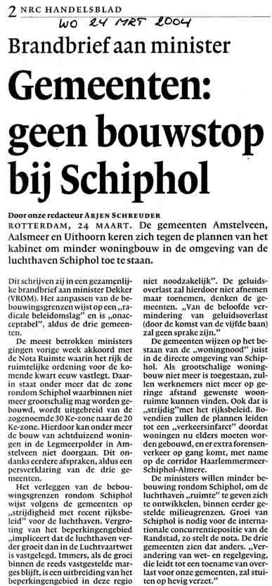 Gemeenten : geen bouwstop bij Schiphol