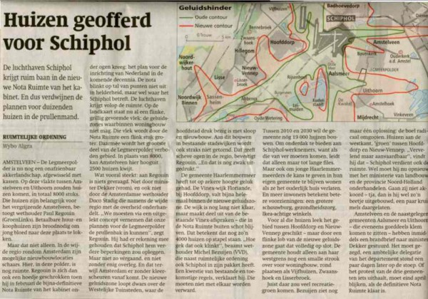 Huizen geofferd voor Schiphol
