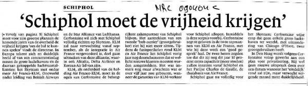 Cerfontaine: 'Schiphol moet de vrijheid krijgen'