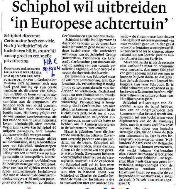 Schiphol wil uitbreiden in Europese achtertuin