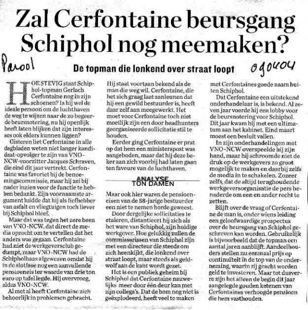 Zal Cerfontaine beursgang Schiphol nog meemaken?