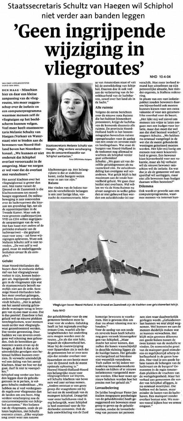 """Schultz: """"Geen ingrijpende wijziging in vliegroutes"""""""