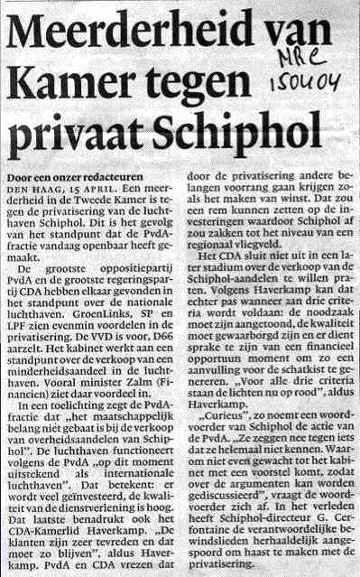 Meerderheid van Kamer tegen privaat Schiphol