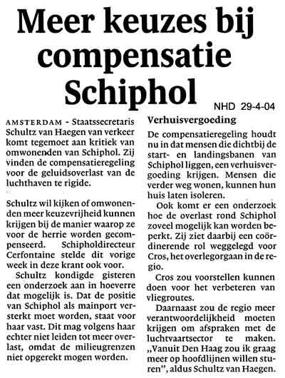 Meer keuzes bij compensatie Schiphol