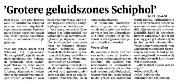 Grotere geluidszones Schiphol