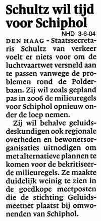 Schultz wil tijd voor Schiphol