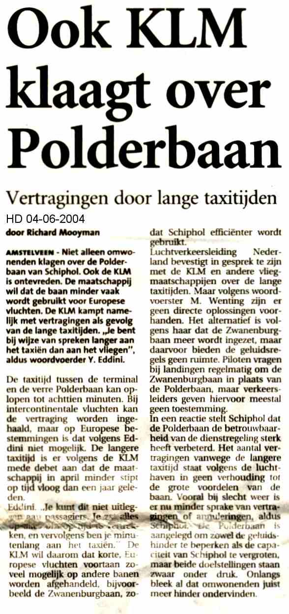 Ook KLM klaagt over Polderbaan