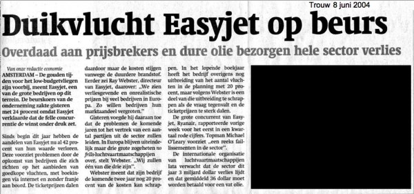 Duikvlucht Easyjet op Beurs