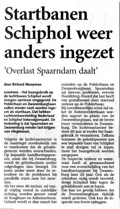 Startbanen Schiphol weer anders ingezet(Overlast Spaarndam daalt)