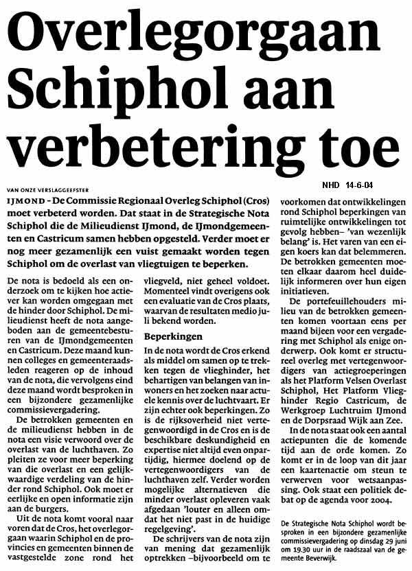 Overlegorgaan Schiphol aan verbetering toe
