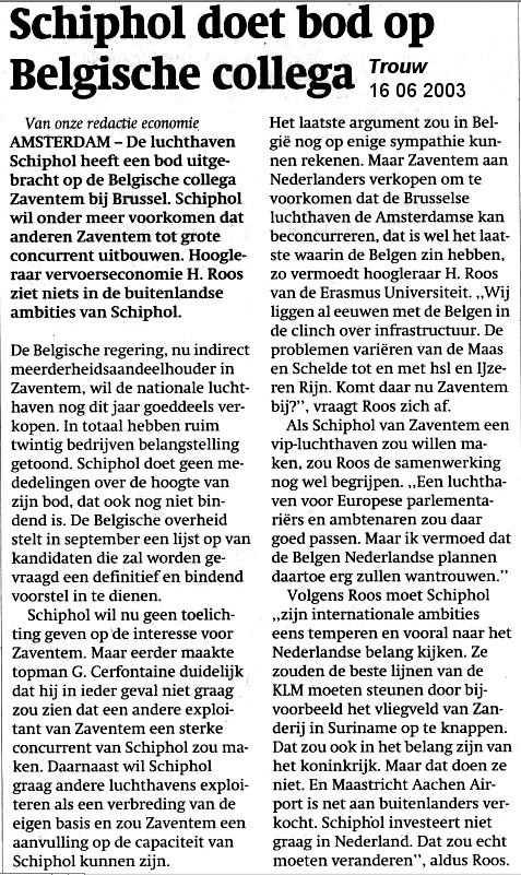 Schiphol doet bod op Belgische collega