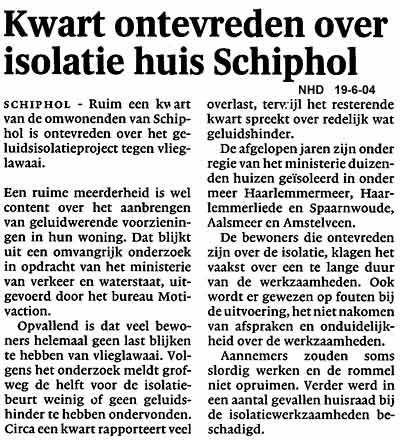 Kwart ontevreden over isolatie huis Schiphol