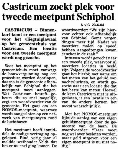 Castricum zoekt plek voor tweede meetpunt  Schiphol