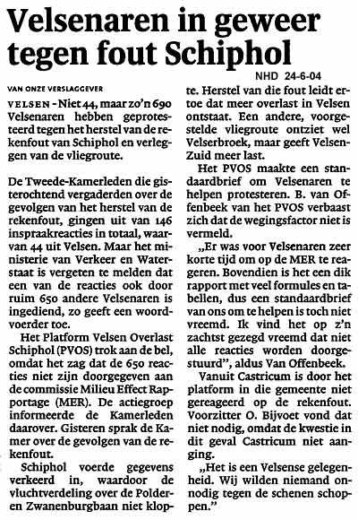 Velsenaren in geweer tegen fout Schiphol