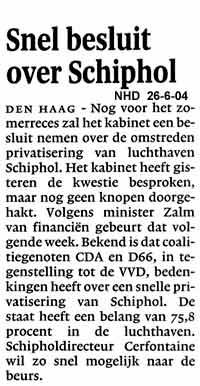 Snel besluit over Schiphol