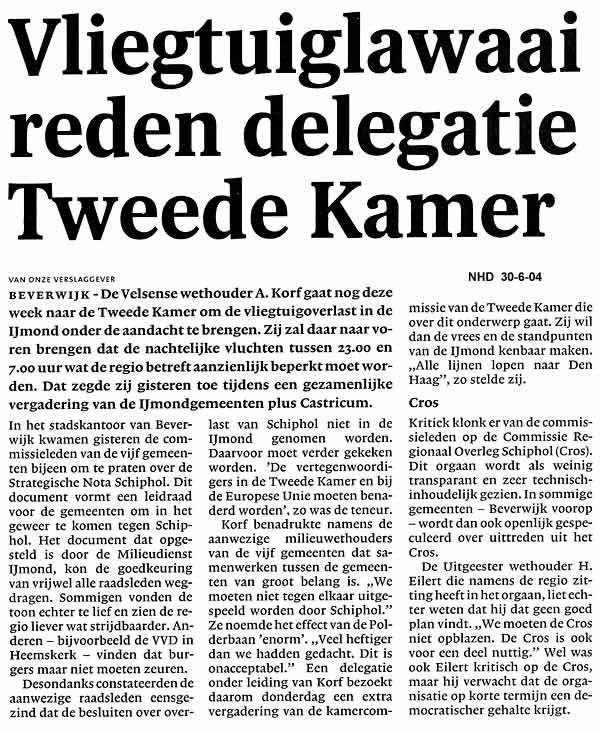 Vliegtuiglawaai reden delegatie Tweede Kamer