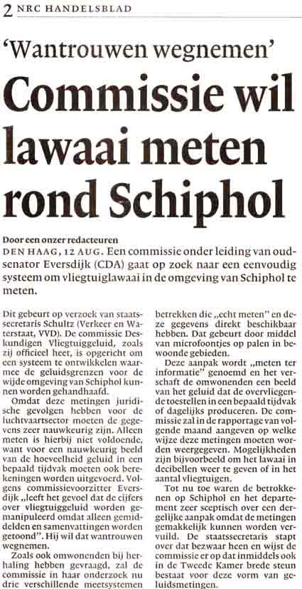 Commissie wil lawaai meten rond Schiphol
