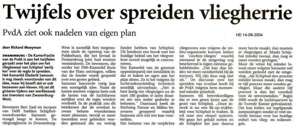 Twijfels over spreiden vliegherrie(Milieubeweging en Luchtverkeersleiding hebben bezwaar