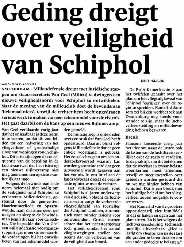 Geding dreigt over veiligheid van Schiphol