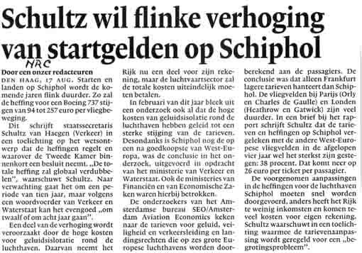 Schultz wil flinke verhoging van startgelden op Schiphol