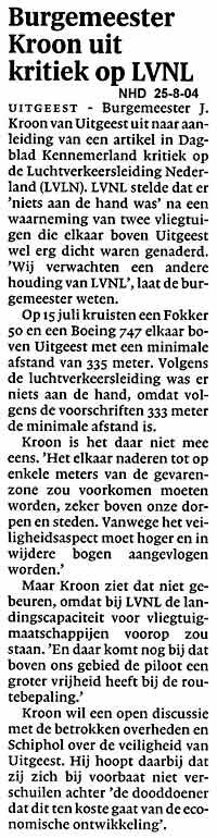 Burgemeester Kroon uit kritiek op LVNL