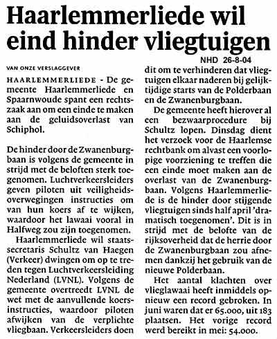 Haarlemmerliede wil eind hinder vliegtuigen
