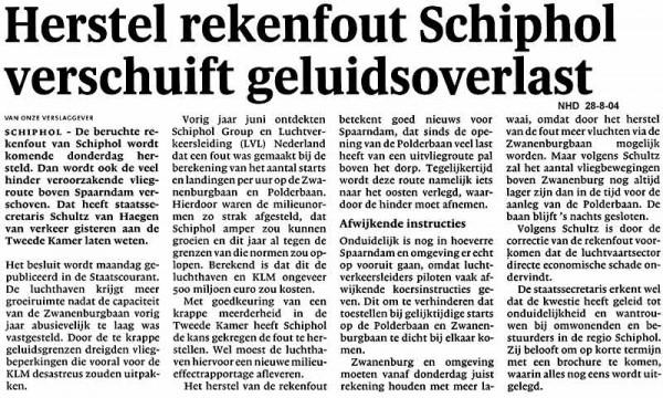 Herstel rekenfout Schiphol verschuift geluidsoverlast