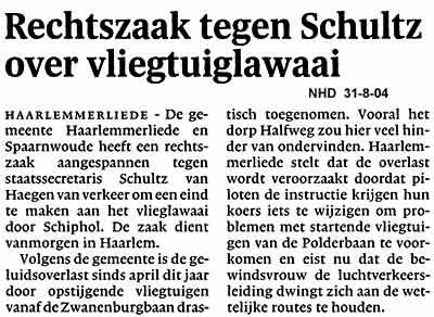 Rechtszaak tegen Schultz over vliegtuiglawaai