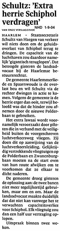 """Schultz: """" Extra herrie Schiphol verdragen"""""""