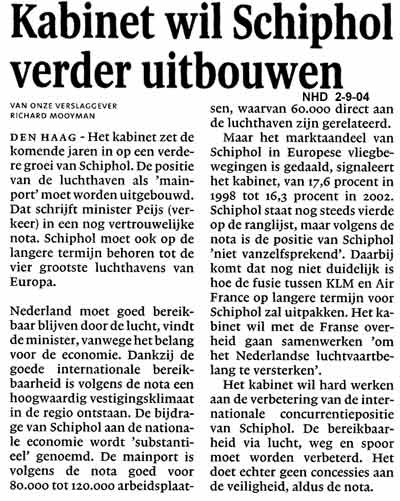 Kabinet wil Schiphol verder uitbouwen