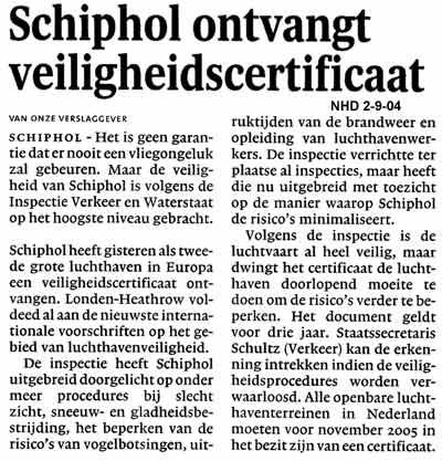 Schiphol ontvangt veiligheidscertificaat