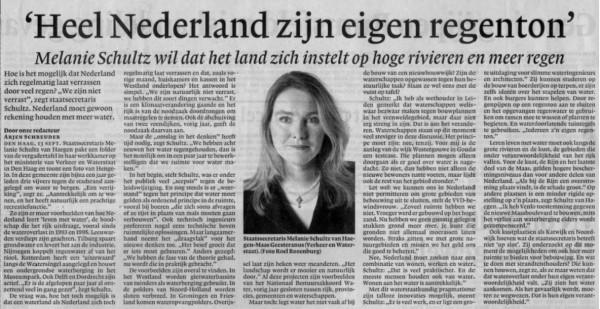 """'Heel Nederland zijn eigen regenton'(""""Straks missen we het geld om goed te beheren"""")"""