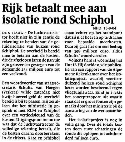 Rijk betaalt mee aan isolatie rond Schiphol