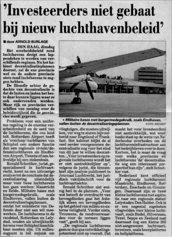 'Investeerders niet gebaat bij nieuw luchthavenbeleid'