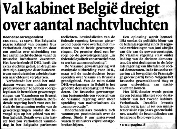 Val kabinet België dreigt over aantal nachtvluchten