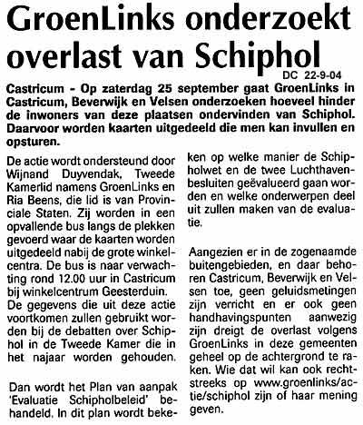 GroenLinks onderzoekt overlast van Schiphol