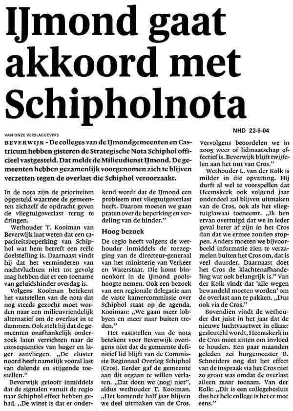 IJmond gaat akkoord met Schipholnota