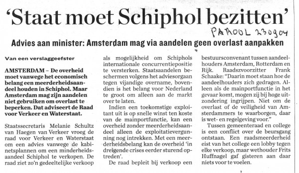 Staat moet Schiphol bezitten