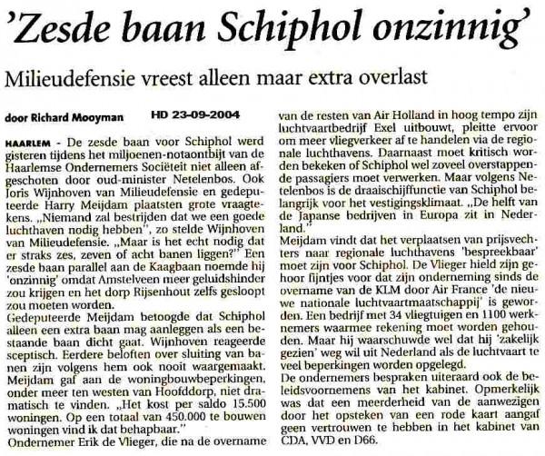 Zesde baan Schiphol onzinnig