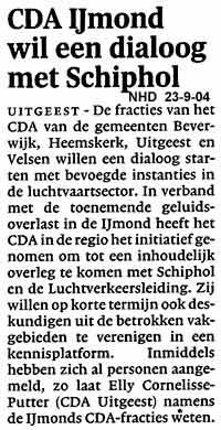 CDA IJmond wil een dialoog met Schiphol