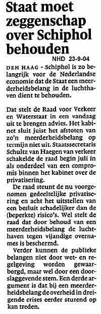 Staat moet zeggenschap over Schiphol behouden