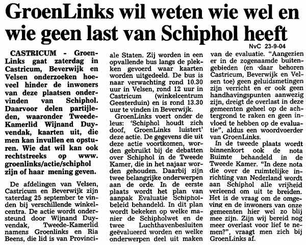 GroenLinks wil weten wie wel en wie geen last heeft van Schiphol