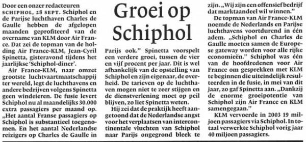 Groei op Schiphol
