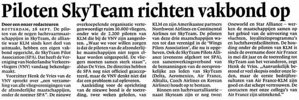 Piloten Skyteam richten vakbond op